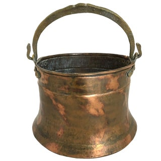 Vintage Burnished Copper Cauldron With Tooled Bronze Handle For Sale