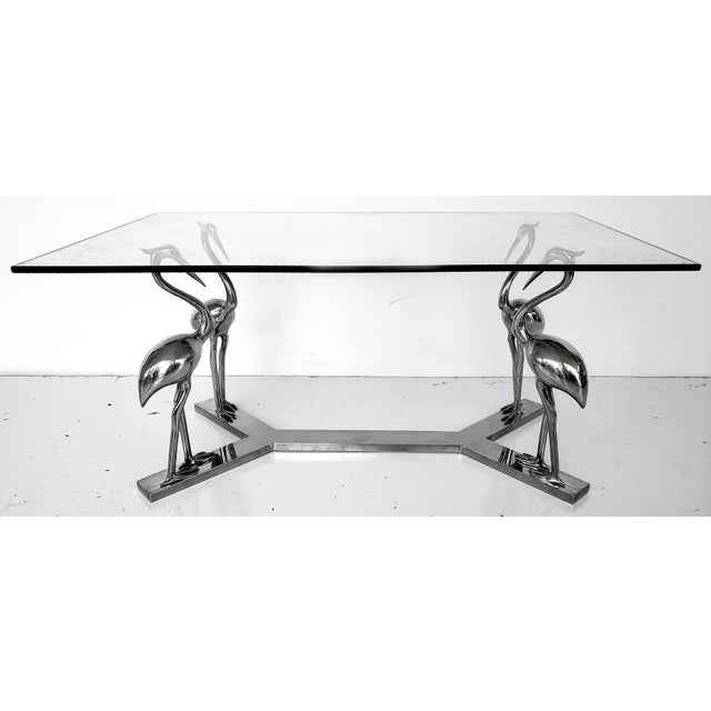 Chrome Vintage French Chrome Bird Stork Coffee Table W/ Glass Top For Sale - Image 8 of 8