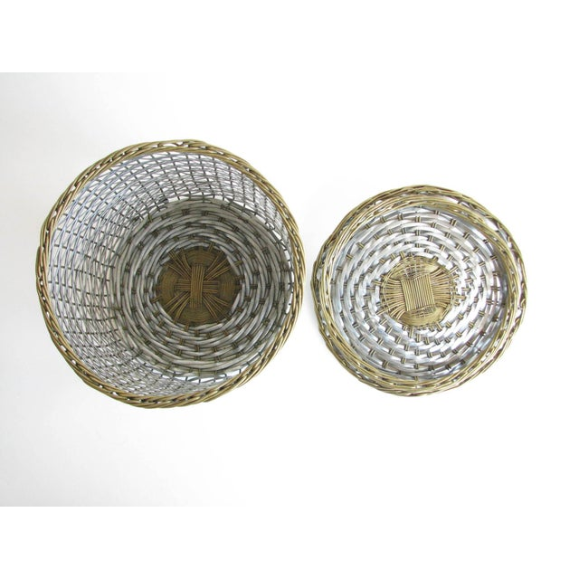 Vintage Woven Two-Tone Metal Wire Lidded Basket For Sale In Chicago - Image 6 of 11