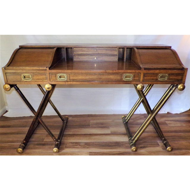 Oxford Square by Drexel Faux Brass Leg Campaign Style Tambour Roll Top Desk For Sale - Image 13 of 13