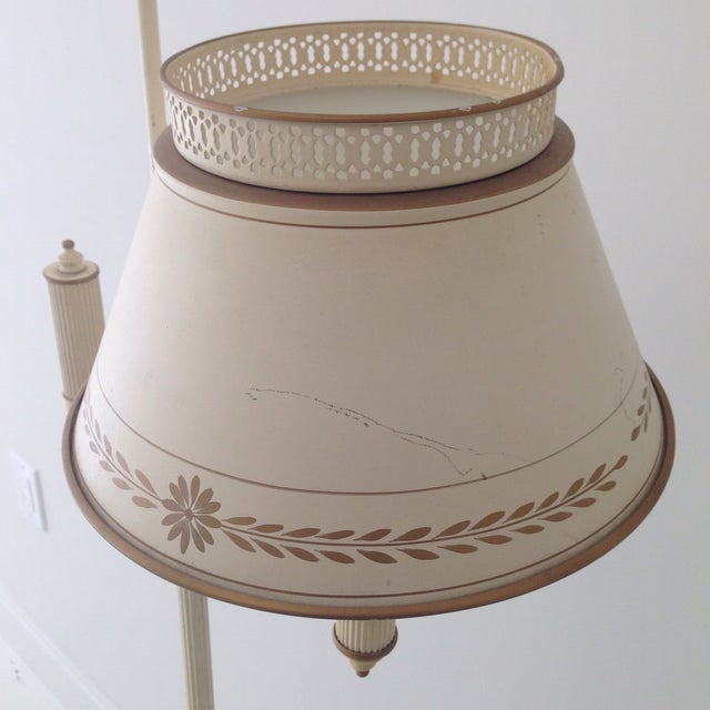 Off-White Tole Floor Lamp - Image 6 of 11