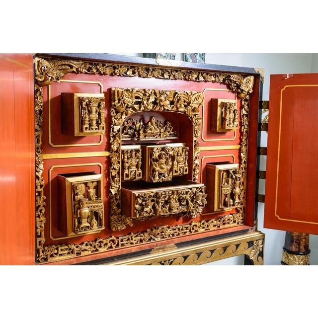 Lacquer Chinese lacquered cabinet on stand For Sale - Image 7 of 11
