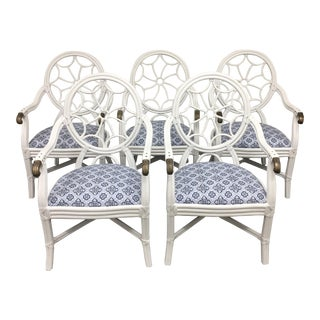 Spider Back Rattan and Brass Dining Chairs - Set of 5