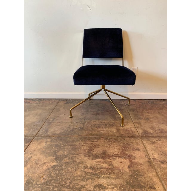 Brass Office Chair With Blue Velvet For Sale - Image 4 of 4