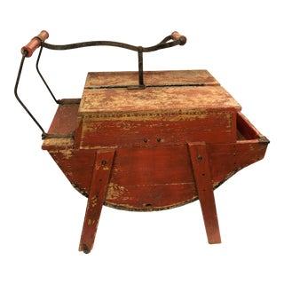 Vintage Vermont Country Distressed Red Washing Machine End Table For Sale