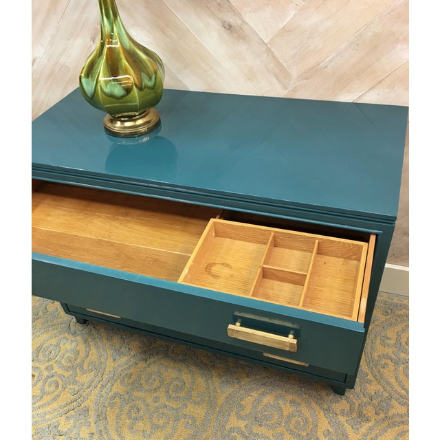 Lacquered Teal Brass Hardware Dresser - Image 7 of 7