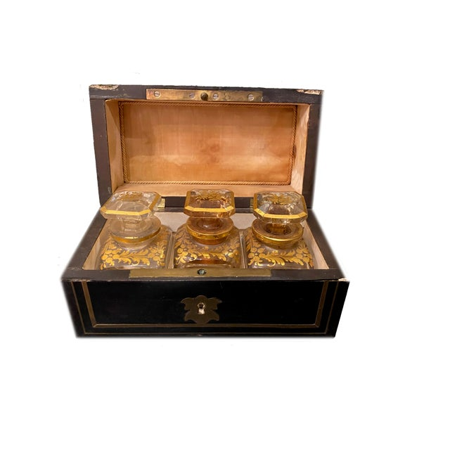 Perfume Box With Three Gilt Painted Perfume Bottles - 4 Pieces For Sale - Image 9 of 10