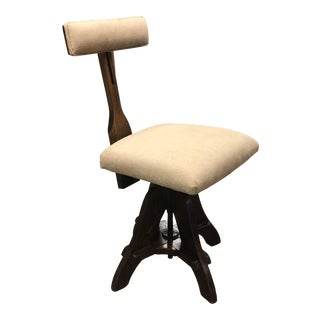 Upholstered Mid-Century Machinist Chair For Sale