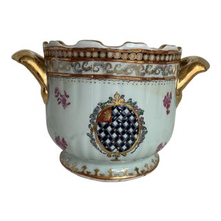 Vintage Hand Painted Celadon and Gilt Cachepot For Sale