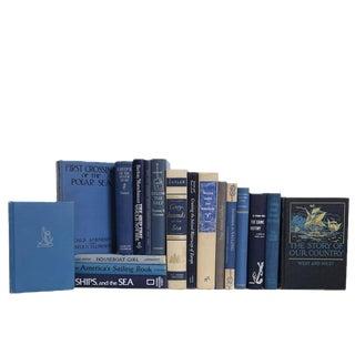 Vintage Nautical Denim and Cream Book Set, S/18 For Sale