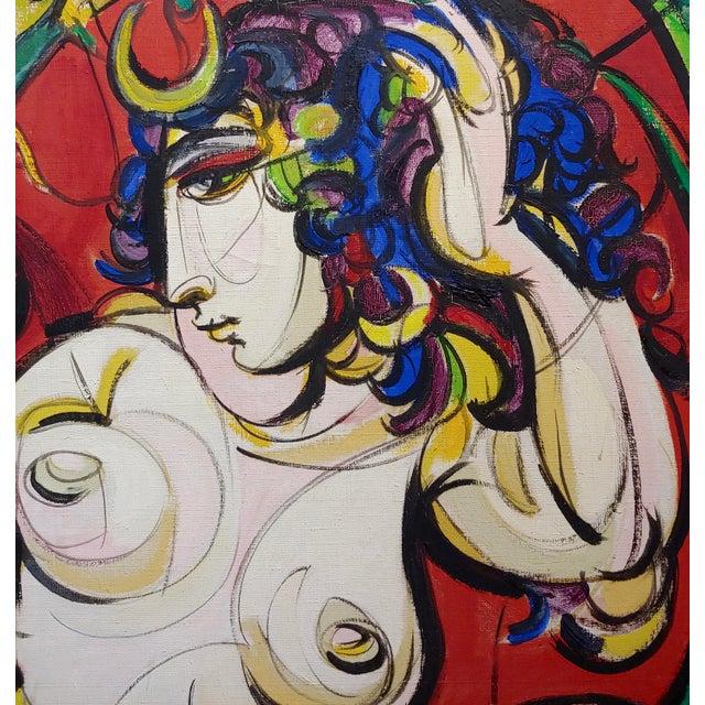 1960s Sheldon C Schoenberg - Le Femme d'Alger - 1960s Cubist Oil Painting For Sale - Image 5 of 9