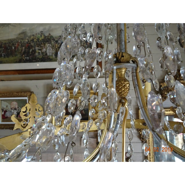 19th Century French Empire Crystal Chandelier For Sale - Image 9 of 13