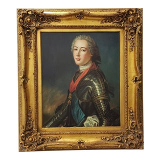 Late 20th Century Oil Portrait of a Young Man in a Suit of Armor by D. Merritt For Sale