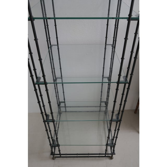 Superb Tall Faux Bamboo Metal Pagoda Etagere For Sale In West Palm - Image 6 of 8