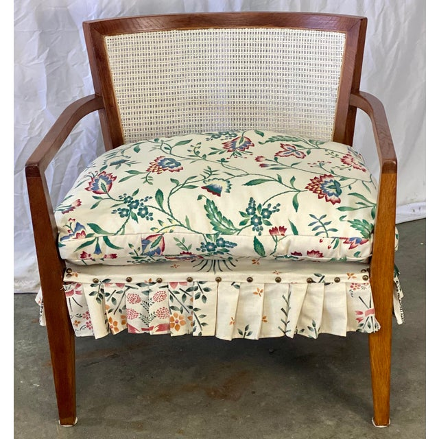 White Mid Century Modern Walnut Caned Birdseye Chair For Sale - Image 8 of 9