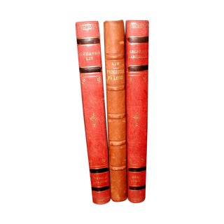 Swedish 1922 Leather Display Books - Set of 3 For Sale