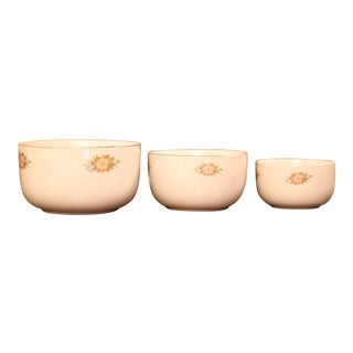 Vintage Rose White Mixing Bowls - Set of 3 For Sale