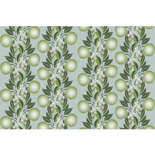 Orange Blossom Stripe Sage Powder Blue Linen Cotton Fabric 6yds For Sale