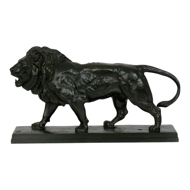 """Lion Marchant"" Antique French Bronze Sculpture by Antoine-Louis Barye, Barbedienne For Sale"