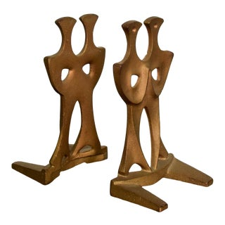 Mid Century Modern Cast Iron Sculptural Bookends Made in Japan For Sale