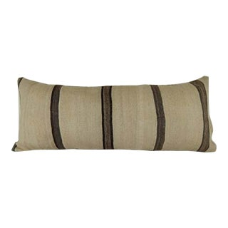 Vintage Striped Queen Boho Woven Bedding Kilim Pillow Cover, King Long Bed Cushion 16'' X 40'' (40 X 100 Cm) For Sale