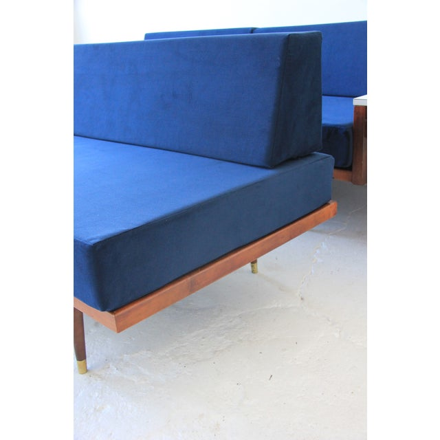 Vintage Mid Century Modern Navy Blue Sectional For Sale - Image 9 of 10