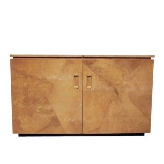 Large Custom Goatskin Bar Cabinet, Circa 1975 For Sale