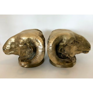 1960s Vintage Italian Bronze Ram Head Bookends- A Pair Preview