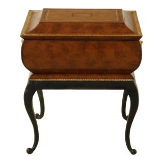 Maitland Smith Tooled Leather Flip Top Box on Iron Legs For Sale