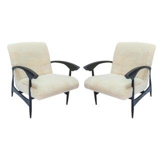 Custom Black Matte Oak Armchairs in Ivory Wool - a Pair For Sale