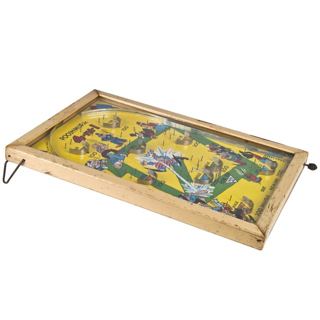 Antique Poosh-M-Up baseball bagatelle game, made in St. Louis, MO by Northwestern Mailbox Company. Wood back and frame,...