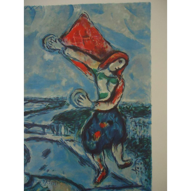 """Lithograph Vintage Marc Chagall Reproduction """"Lovers Over Paris"""" Print For Sale - Image 7 of 11"""