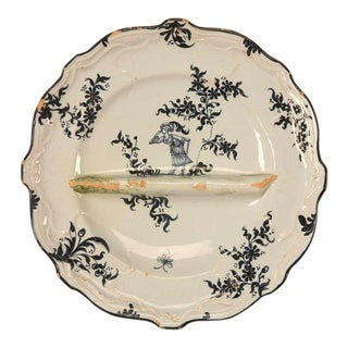Circa 1880 Asparagus Plate by Emile Galle For Sale