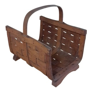Early 20th Century Antique Split Oak Fireside Basket For Sale
