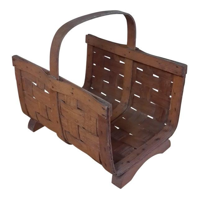 Early 20th Century Antique Split Oak Fireside Basket For Sale
