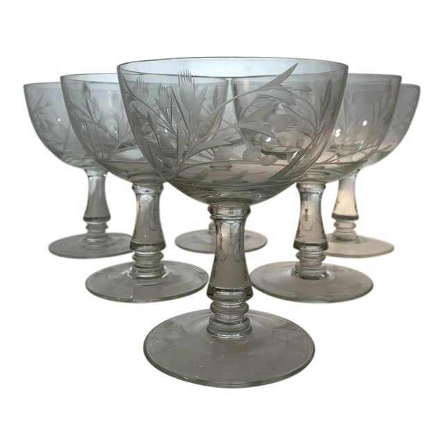 Vintage 1960s Crystal Goblets With Etched Thistle Pattern - Set of 6 For Sale