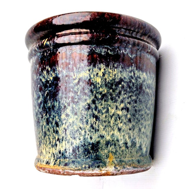 Clay Navy Blue and Teal Drip Glazed Terracotta Clay Outdoor Planter For Sale - Image 7 of 8