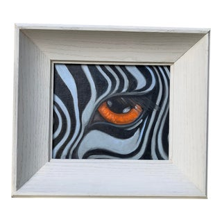 Contemporary Oil Painting of a Zebra's Eye, Framed For Sale