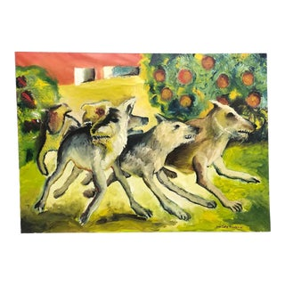 1990s Oil Painting by Juan Carlos Bronstein For Sale