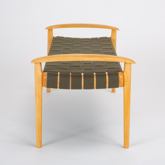 Green American-Made Maple Bench With Woven Seat by Tom Ghilarducci For Sale - Image 8 of 13