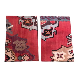 """S/2 Custom Made Old Turkish Tribal Kilim Pillows Cover 16"""" by 24"""" For Sale"""