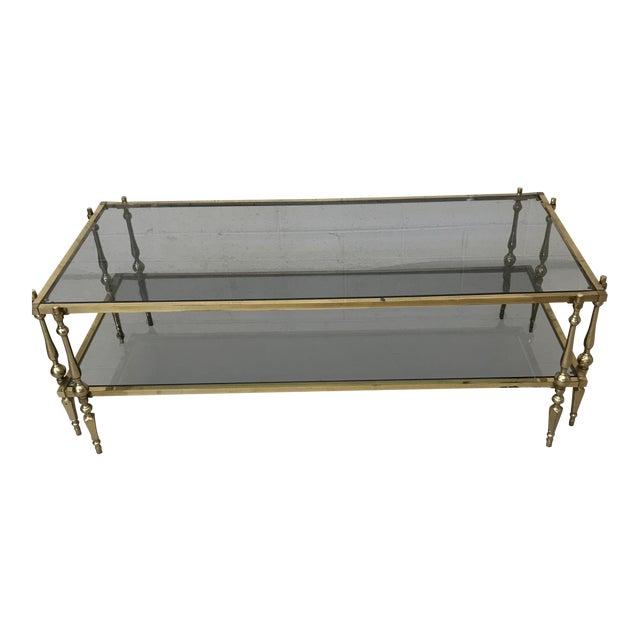 Italian Smoked Glass & Brass Coffee Table For Sale