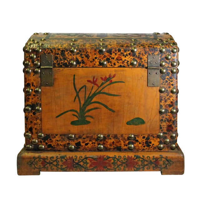 Wood Chinese Distressed Yellow Red Dragon Graphic Trunk Box Chest For Sale - Image 7 of 9