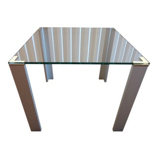 Theo Beunen Lourens Fisher Acqua Glass and Aluminum Square Occasional Table