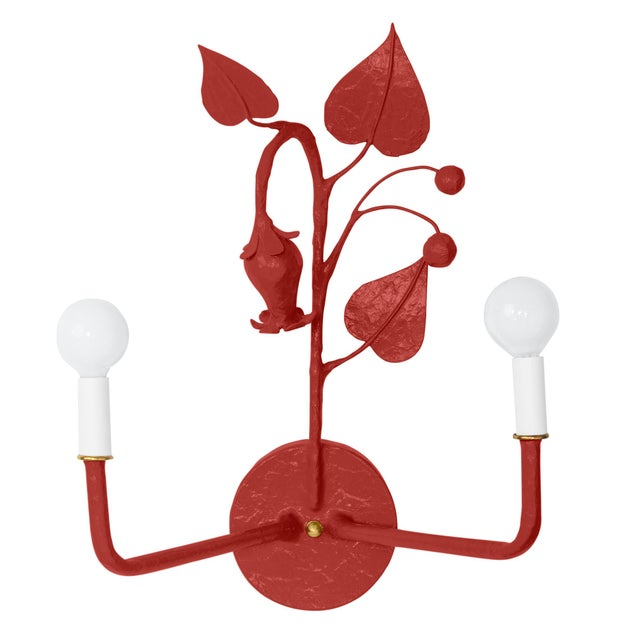 Contemporary Stray Dog Designs for Chairish Efrain Sconce, Deep Red For Sale - Image 3 of 3