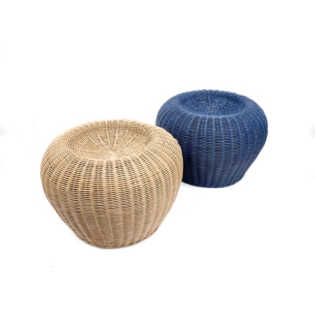 Vintage Woven Wicker Rattan Pouf Footstools Ottomans - Image 8 of 10