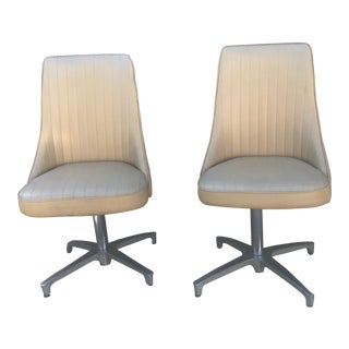 1960s Vintage Chromecraft Leather Swivel Chairs - a Pair For Sale