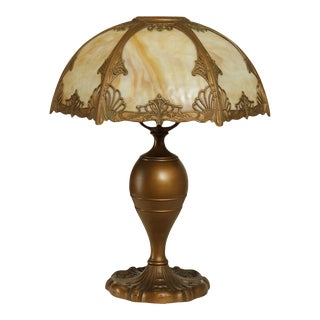 Antique Butterscotch Slag Glass Shade and Bronze Colored Table Lamp For Sale