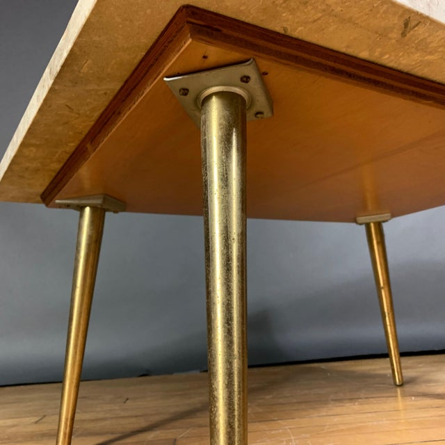 Mid-Century Travertine and Brass Coffee Table, Usa For Sale - Image 9 of 10