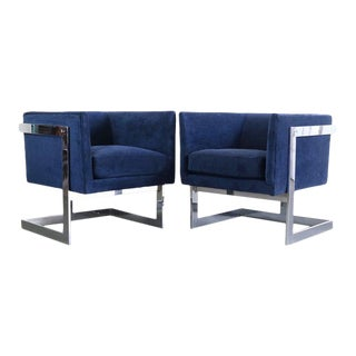 1960s Chrome Club Chairs in Deep Blue by Milo Baughman - a Pair For Sale